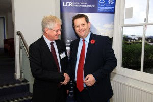 LCRI Director Peter Pearson with the Minister for Natural Resources and Food, AM Alun Davies